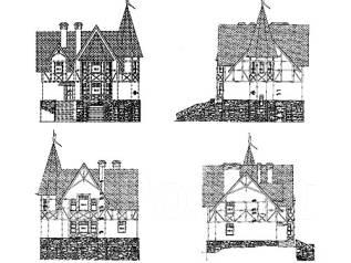 Проект дома из газосиликатных блоков 17-256П. 200-300 кв. м., 2 этажа, 9 комнат, бетон