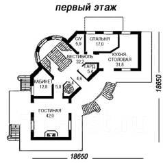 Проект кирпичного дома: 17-525К. более 500 кв. м., 2 этажа, 9 комнат, бетон