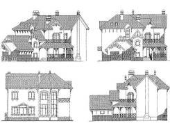 Проект кирпичного дома: 17-381К. 300-400 кв. м., 3 этажа, 8 комнат, бетон