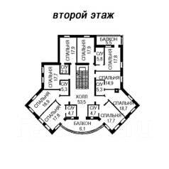 Проект дома из кирпича 17-674К. 200-300 кв. м., 2 этажа, 9 комнат, бетон