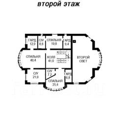 Проект дома из кирпича 17-805К. 200-300 кв. м., 2 этажа, 9 комнат, бетон