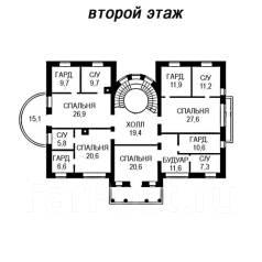 Проект кирпичного дома: 17-573К. 200-300 кв. м., 2 этажа, 7 комнат, бетон