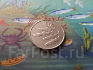 Исландия. 10 крон 1987 г. Рыбы. Большая красивая монета!