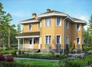 Проект дома из пеноблоков ПБ 3-165. 200-300 кв. м., 3 этажа, 6 комнат, кирпич