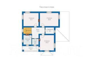 Проект дома из газобетона ПБ 2-247. 300-400 кв. м., 2 этажа, 7 комнат, бетон
