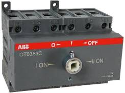 Рубильник OT100F3 до 100А 3х-полюсный для установки на DIN-рейку или монтажную плату(с ручкой) ABB 1SCA105004R1001