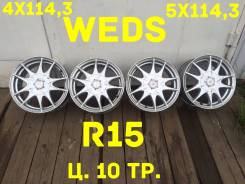 Weds. 6.5x15, 4x114.30, 5x114.30, ET53, ЦО 70,0мм.