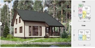 Проект дома для постоянного проживания. 100-200 кв. м., 2 этажа, 6 комнат, каркас
