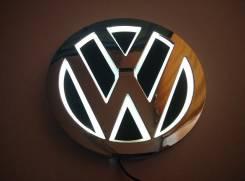 Эмблема 5D белая подсветка (110x110) Volkswagen