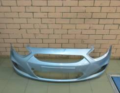 Бампер передний оригинальный Hyundai Solaris (голубой металлик)