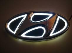 Эмблема 5D белая подсветка (130x65.5) Hyundai