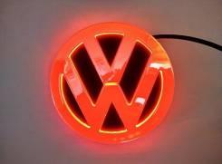 Эмблема 4D красная подсветка (110x110) Фольксваген. Volkswagen