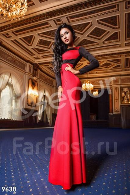 Длинное красное платье в пол владивосток