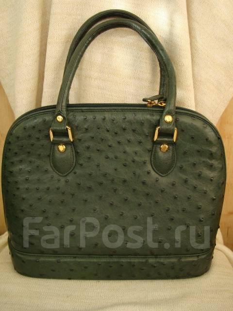 78e6233aa038 Женская сумка из кожи страуса, цвет тёмно-зелёный, Япония ...