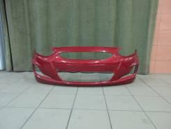 Бампер передний оригинальный  Hyundai Solaris (цвет красный)