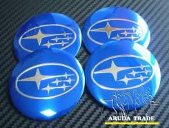 "Заглушки, накладки на литье Subaru STI (алюминий) синие. Диаметр 5.5"", 1 шт."