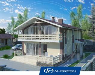 M-fresh Mustang-зеркальный (Проект дома с большой террасой! ). 200-300 кв. м., 2 этажа, 5 комнат, бетон