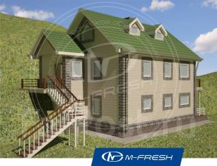 M-fresh Jazz (Проект дома для неровного участка с перепадом). 100-200 кв. м., 2 этажа, 4 комнаты, бетон