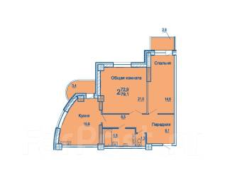2-комнатная, улица Сабанеева 14в. Баляева, застройщик, 73кв.м. План квартиры