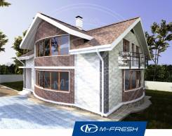M-fresh Radius (Готовый проект дома с закруглённой стеной! ). 300-400 кв. м., 2 этажа, 7 комнат, комбинированный