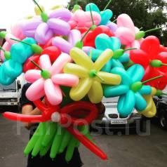 Цветы из воздушных шаров, фигуры из воздушных шаров, гелиевые шары,