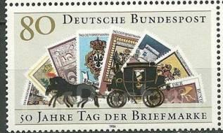 1986 Германия (ФРГ) День марки. Почтовая карета. 1 марка Чистая