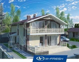 M-fresh Mustang (Готовый проект дома с террасой! Посмотрите! ). 200-300 кв. м., 2 этажа, 5 комнат, комбинированный