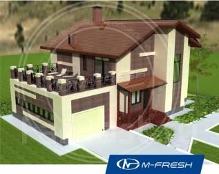 M-fresh My victory (Готовый проект дома с террасой над гаражом! ). 200-300 кв. м., 2 этажа, 6 комнат, бетон