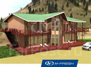 M-fresh Drive ibiza (Проект дома отдыха с витражами). 300-400 кв. м., 2 этажа, 10 комнат, каркас