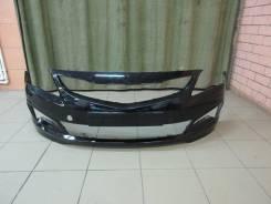 Бампер передний Hyundai Solaris рестайлинг с 2014 г. в. (цвет чёрный)