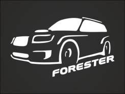 Наклейка на заднее стекло Subaru Forester (белая) Субару Форестер