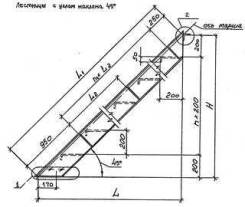 Лестницы стальные ЛГВ 45-30.7 по серии 1.450.3-7.94. Под заказ