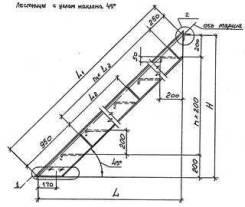Стальной лестничный марш ЛГВ 45-12.7 с решетчатыми ступенями. Под заказ