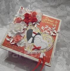 Открытка-коробочка ручной работы для свадебного подарка - vlcard. Под заказ