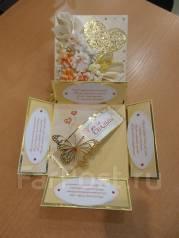 Открытка-коробочка ручной работы для свадебного подарка vlcard. Под заказ