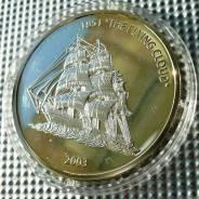 *188. Либерия 10 долларов 2003 (Парусники/Клипер Flying Cloud)Серебро,