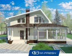 M-fresh Audi style-зеркальный (Веранда в проекте, мансарда, газоблок). 200-300 кв. м., 2 этажа, 4 комнаты, бетон