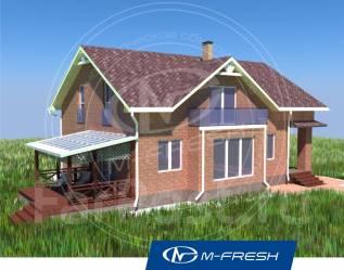 M-fresh Anton style (Посмотрите готовый проект дома с балконом! ). 200-300 кв. м., 2 этажа, 5 комнат, кирпич