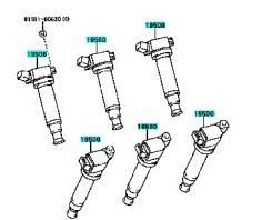 Катушка зажигания. Toyota: Solara, Harrier, Camry, Kluger V, Highlander, Kluger, Kluger Hybrid Lexus: RX300, RX330, ES330, RX350, ES300, RX400h Двигат...