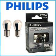Бесцветные лампы в поворотники PY21W (21W) Philips Silver Vision 2 шт. Toyota: Corona, Lite Ace, Windom, Corolla, Altezza, Tercel, MR-S, Dyna, Raum, V...