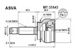 Шрус наружный 22x57x25 MITSUBISHI MR528565 Asva MT-37A43