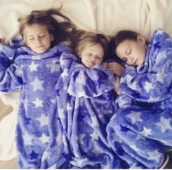 Детский плед с рукавами из микроплюша Sleepy Kids Purple Stars