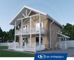 M-fresh Panama-зеркальный (Проект небольшого дома с крытой террасой! ). 100-200 кв. м., 2 этажа, 3 комнаты, бетон