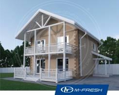 M-fresh Panama-зеркальный (Готовый проект дома из теплоблоков). 100-200 кв. м., 2 этажа, 3 комнаты, бетон