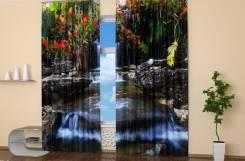Фотошторы 3D: Весенний водопад. Ширина до 310 см, Высота любая. Под заказ