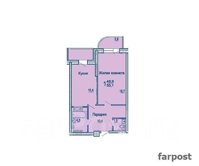 1-комнатная, улица Сабанеева 14в. Баляева, застройщик, 55 кв.м. План квартиры