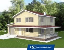 M-fresh Bali-зеркальный (Проект дома с гаражом). 200-300 кв. м., 2 этажа, 4 комнаты, каркас