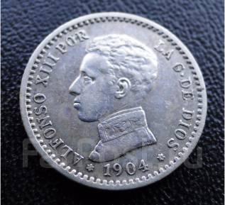 50 сентимо.1904г. Испания. Альфонсо XIII. Серебро. XF.