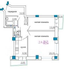 2-комнатная, улица Калинина 13 стр. 3. Чуркин, застройщик, 70 кв.м. План квартиры