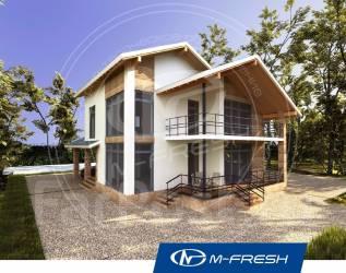 M-fresh Absolute-зеркальный (Проект дома с навесом для авто). 100-200 кв. м., 2 этажа, 4 комнаты, комбинированный